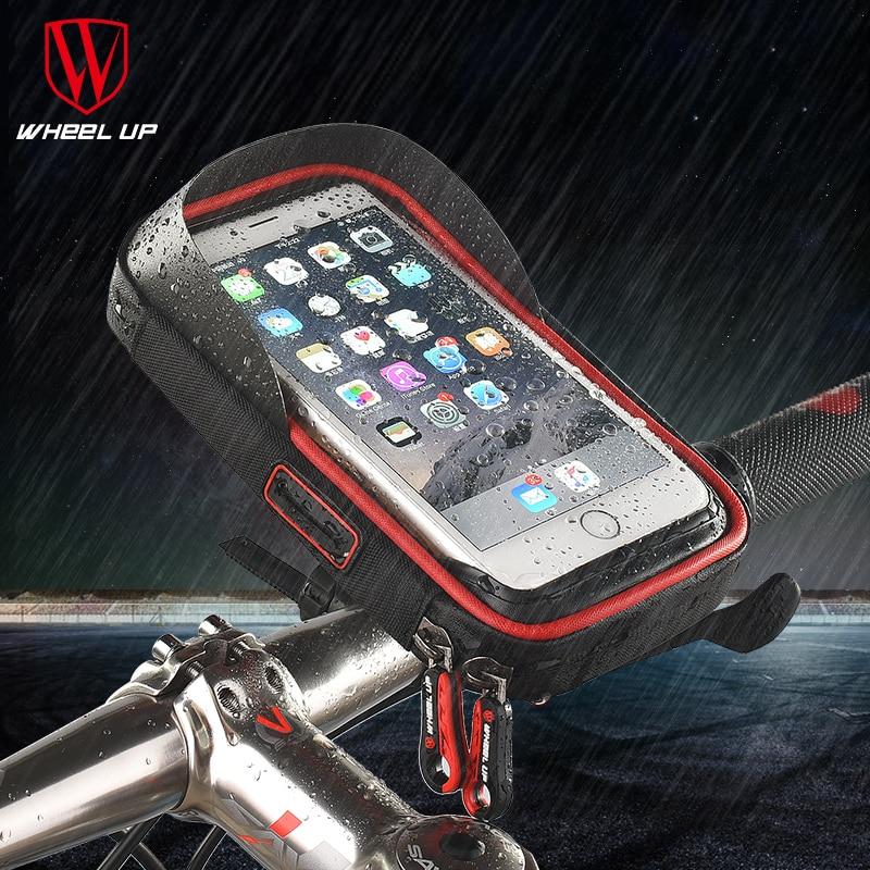 WHEEL UP Bicycle Phone Bag Rainproof Dotykový displej Mobilní telefon Držitel řídítka Tašky Rám Pouch Bag A Bike velkoobchod