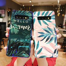 tropical leaves tpu case For samsung galaxy s10 s8 s9 plus s10e s10 lite note 8 9 case Luxury blue ray soft silicone phone bag tropical leaves tote bag
