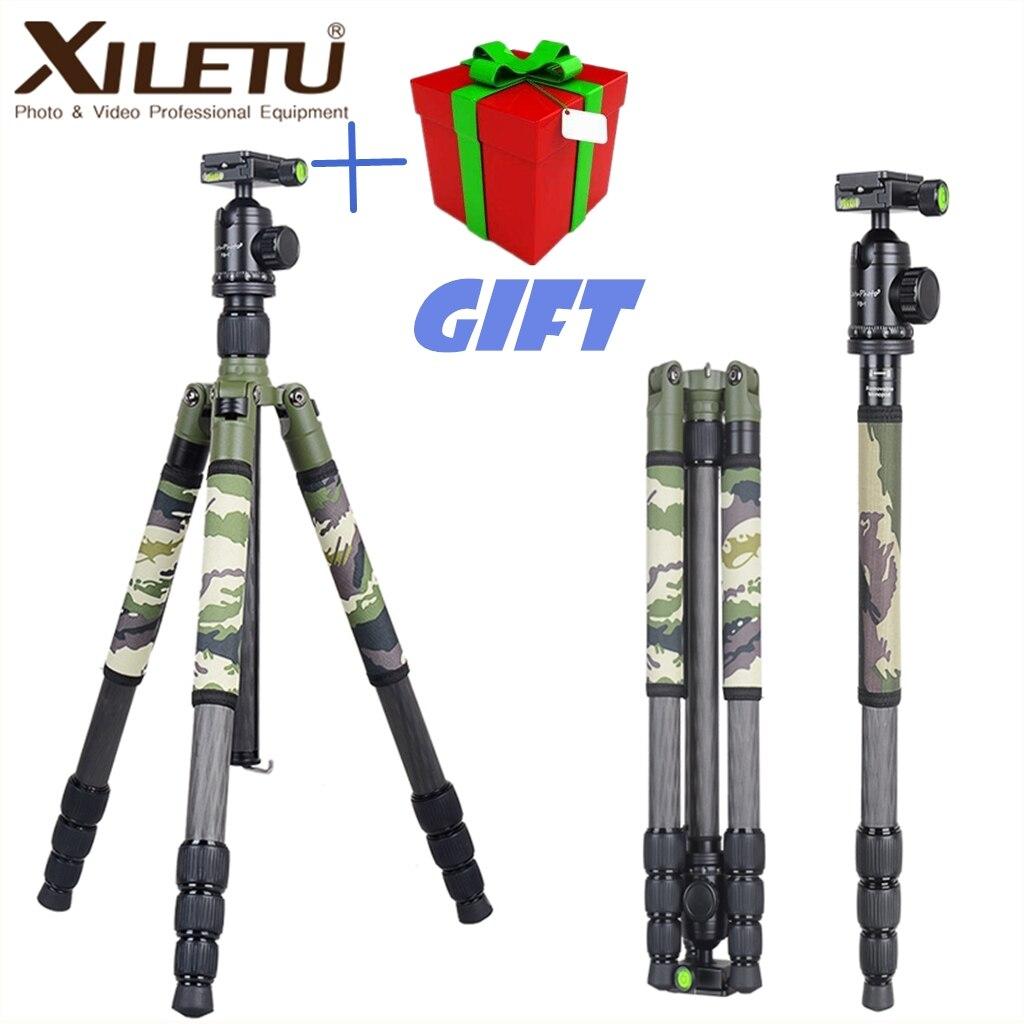 Xiletu T284C + FB1 camuflaje verde oculto de trípode de fibra de carbono para viajes al aire libre caza tiro DSLR cámara Digital