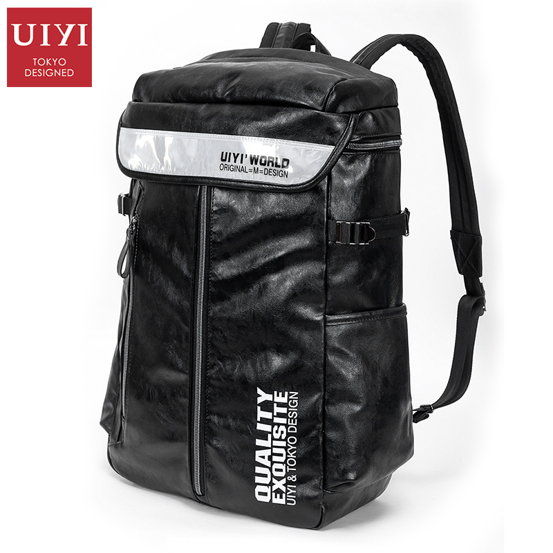 ФОТО UIYI PU Backpack Men Travel Bag Fashion Large Capacity Black Letter Patchwork Leather Backpack Classic Men Bagpack #UYB6047