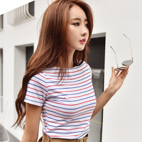 2017 Spring New Stripe Long Sleeved T Shirt Female Round Neck Slim Slim Cotton Primer