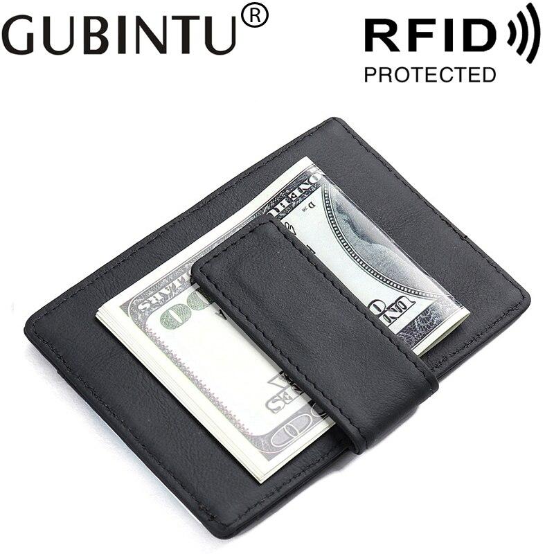 Genuine Leather For Bank ID Credit Business Card Holder Men RFID Wallet Purse Case Male Money Bag Clip Porte Carte Cardholder