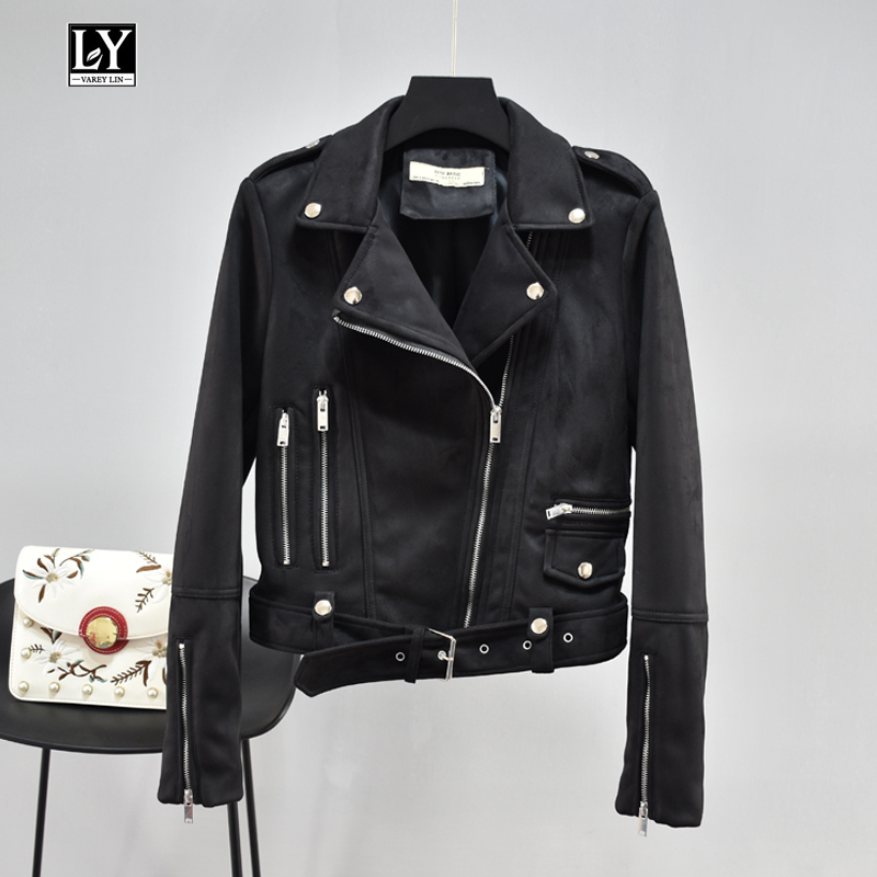 Ly Varey Lin 2019 Autumn Women Faux   Suede     Leather   Jacket Black Soft Faux   Leather   Motorcycle Short Jackets Rivet Zipper Outerwear