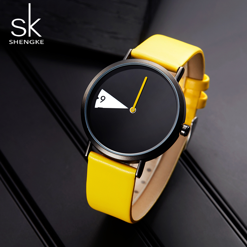 Image 2 - SHENGKE Watch New Yellow Leather Strap Casual Style Women Watches Quartz Ladies Watches Creative Clock Gift relogio feminino-in Women's Watches from Watches