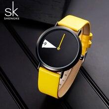 Shengke腕時計新黄色の革ストラップカジュアルスタイルの女性の腕時計クォーツ女性腕時計クリエイティブ時計ギフトレロジオfeminino