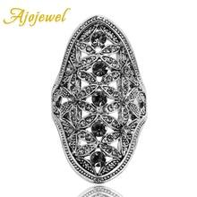 Ajojewel Ladies Vintage Jewelry Hollow Out Rhinestone Crystal Rings For Women Elegant Big Ring Designs hollow out rhinestone ring