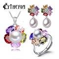 CYTHERIA sistema de La Joyería, 100% natural de agua dulce verdadera perla regalos de la joyería para las mujeres, colgante y pendientes y anillo, caja de regalo, 2016 nuevo
