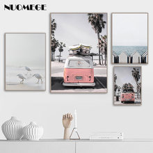 California Beach Poster Art Santa Monica Beach Prints Coastal Canvas Painting Wall Art Nordic Decoration Pictures Surf Decor(China)
