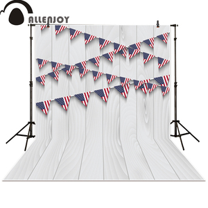 Allenjoy photo backdrop Patriotic American Flag white wood independence Day newborn baby shower background photocall