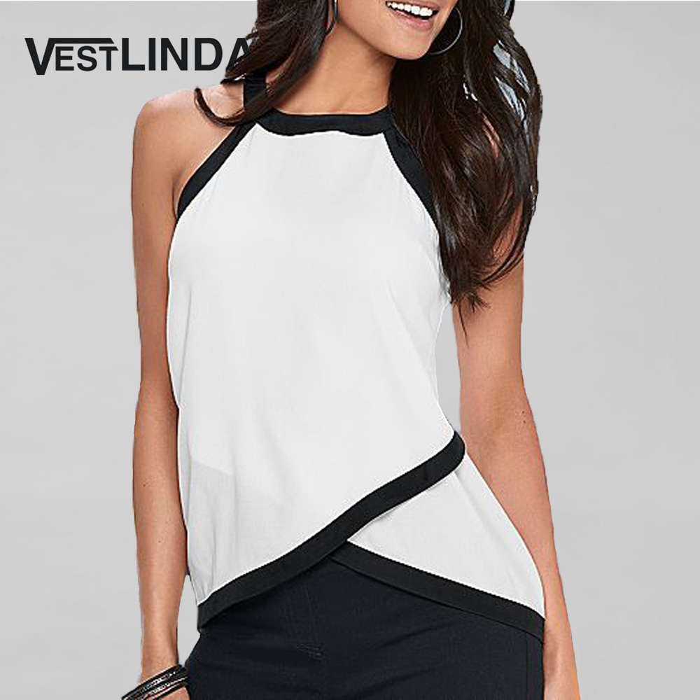 VESTLINDA Overlap Tank Tops Women Summer Tees Plus Size Contrast Trim Sleeveless Halter Top Female Clothes Workout White Tanktop