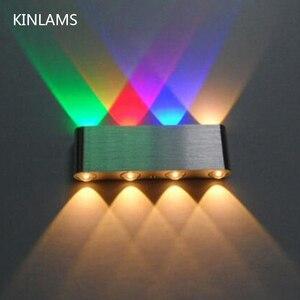 Image 1 - 현대 8 w 아래로 led 벽 빛 AC85 265V 고품질 cuboid 다채로운 벽 램프 상점 막대기 화장실 침실 독서 훈장