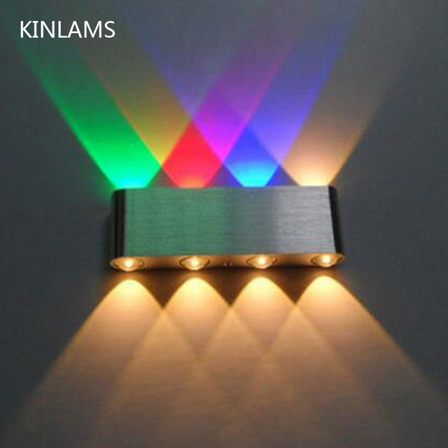 현대 8 w 아래로 led 벽 빛 AC85 265V 고품질 cuboid 다채로운 벽 램프 상점 막대기 화장실 침실 독서 훈장