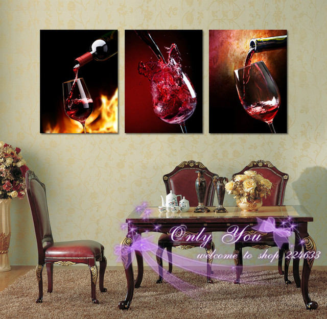 Home Decor Picture Contemporary Wine Glass Art Canvas Prints Living Room Dining Painting Vintage