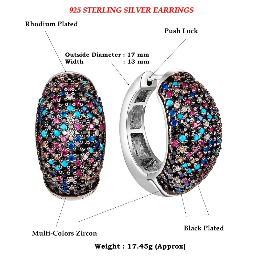 SE23738RB-dimension multi-colors cubic zirconia stone hoop earrings for women 925 sterling silver wedding jewelry (2)