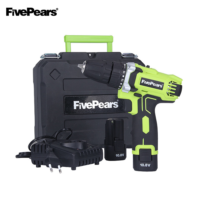 Fivepears 10.8-Volt DC Lithium-Ion Battery 10mm 2-Speed Electric Cordless Drill Mini Screwdriver Wireless Power Driver