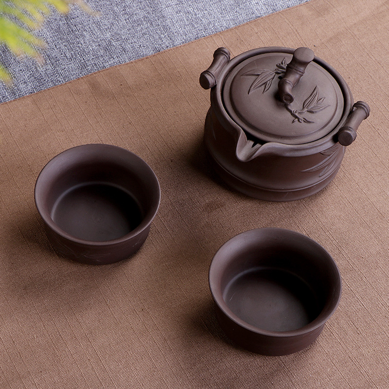 Vintage Ceramic Purple Clay Teaware Set 3