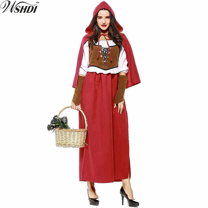 e7f0effb1de S-XXL Новая мода для взрослых Для женщин Хэллоуин Косплэй Фантазия платье  Дамы Красная Шапочка