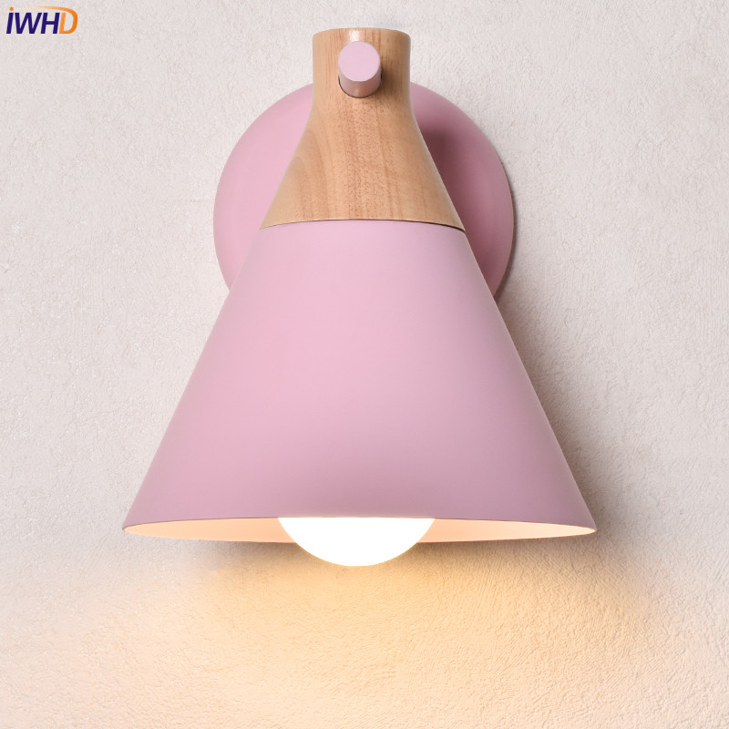 IWHD Nordic Wooden LED Wall Light Bedroom Living Room Colorful ...