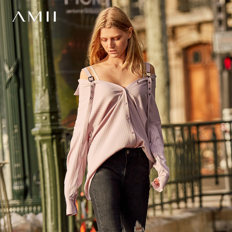 Amii minimaliste rayures chemises femmes 2019 mode à manches longues crantée hors épaule Blouse Sexy haut pour femme