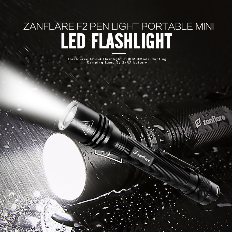 Zanflare F2 Pen Light Portable Mini LED Flashlight Torch Cree XP-G3 Flashlight 200LM 4Mode Hunting Camping Lamp By 2xAA battery z50 5pcs pen light portable mini led flashlight torch cree q5 flash light hugsby xp 2 500lm hunting lamp by aaa battery