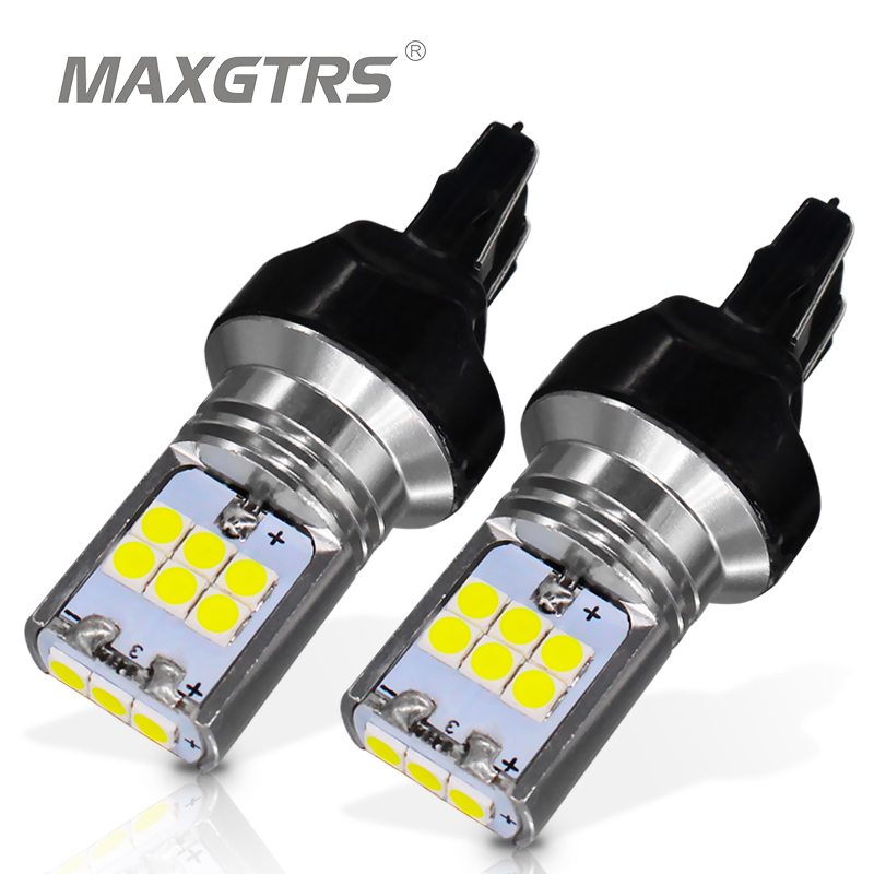 2x Flash Strobe <font><b>T20</b></font> 7443 <font><b>W21</b></font>/<font><b>5W</b></font> WY21W Car Led Light 15 Smd 3030 Brake Tail Signal Stop Back-Up Bulb Lights Source Red White image