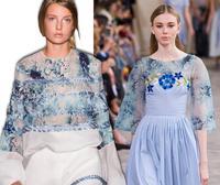 wholesale Blue ink flower digital Silk Fabrics dresses shirt tweed scrapbooking cheap print satin lace fabric costura B683