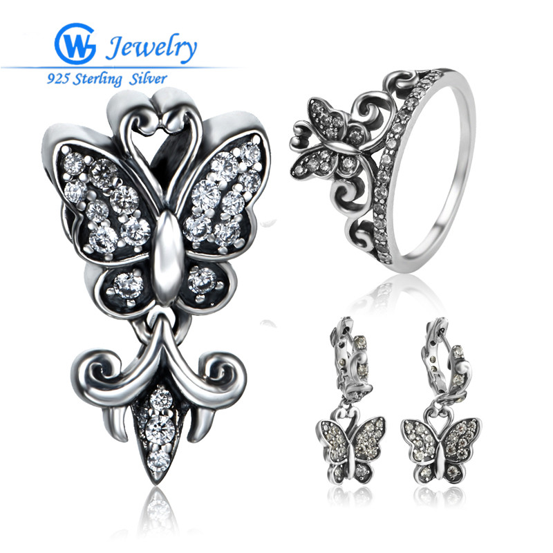 Butterfly jewelry sets Sterling Silver Jewelry GW brand Jewelry for women,925 silver earrings and pendant and ring SET-004H15 брелок gw jewelry