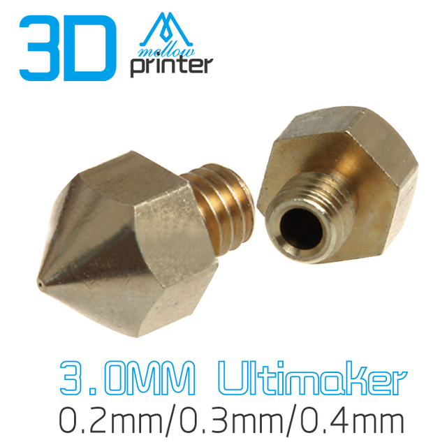 Free shipping Wholesale Mix Size 5pcs/lot Extrusion Head Hotend M6 Nozzle 0.2mm/0.3mm/0.4mmFor Ultimaker 3D Printer 3MM Filament