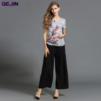 HIGH QUALITY 2 PIECES SUMMER FEMALE SUITS SILK LINEN TEES COTTON PANTS SUITS FOR WOMEN PLUS