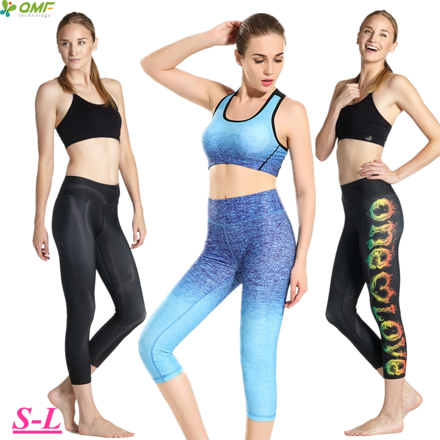 917cbb7abe631 Sky Blue Compression Running Capris Leggings Elastic Black Dry Fit Yoga  Fitness Workout Cropped Tights Women's Slim Fit Trousers-in Running Tights  from ...