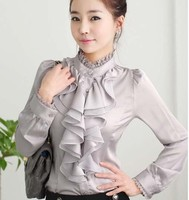 2015 New Ladies High Neck Frilly Womens Vintage Victorian Blouse Ruffle Chiffon Top Shirt