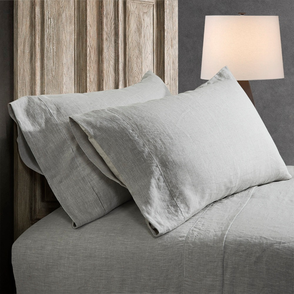 100 linen stone washed sheet set Grey with hand hemstitch
