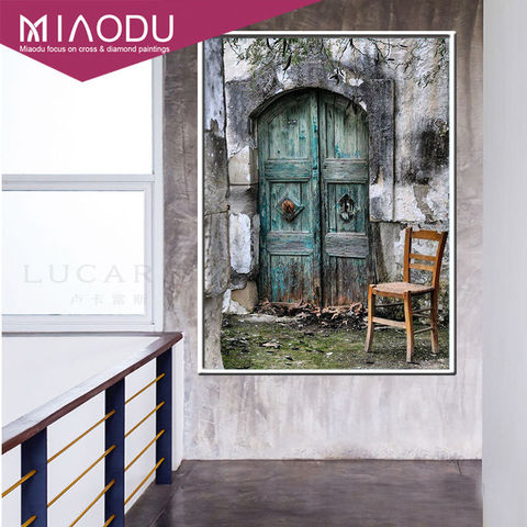 Miaodu 3D Door Landscapes DIY Embroidery Diamond Painting Full 5D Cross Stitch Kits Mosaic Paintings Wall Sticker Wedding gift Karachi