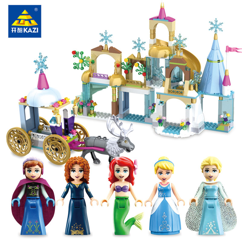 Frozene 6 in 1 Little Mermaid Figures Building Blocks Dream Princess Cinderella Castle Girls Series Toy Compatible Legoe Friends the little old lady in saint tropez