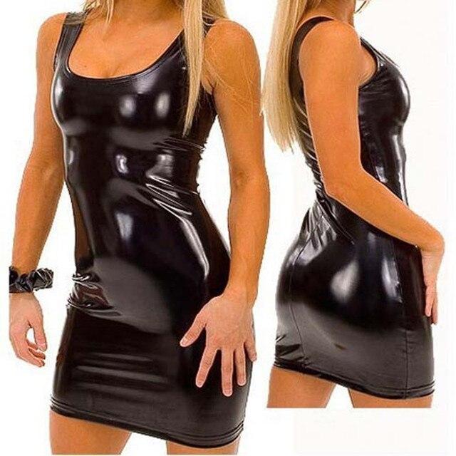 Xxxl Pvc Vestido Mujeres Latex Fiesta S Sexy Charol Vendaje ID9EW2H