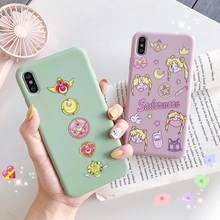 Jepang Anime Kawaii Sailor Moon Ponsel Case untuk iPhone 6 6 S Plus 7 8 Puls X XS Max XR kasus TPU Soft Back Cover Coque(China)