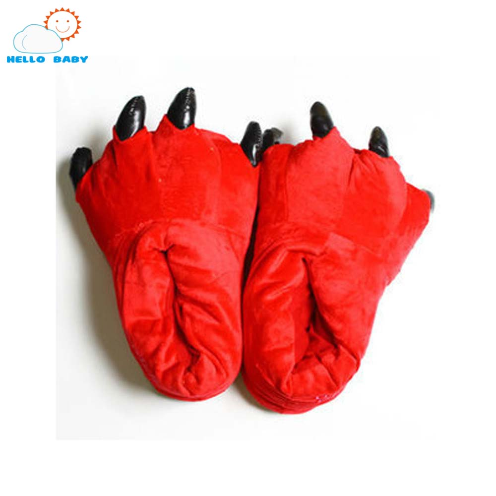 Belle hiver chaud Dinosaure point moelleux Étage griffe bébé pantoufles  souple minions Corail de velours En Peluche accueil slipper enfants  chaussures 69929b454f6