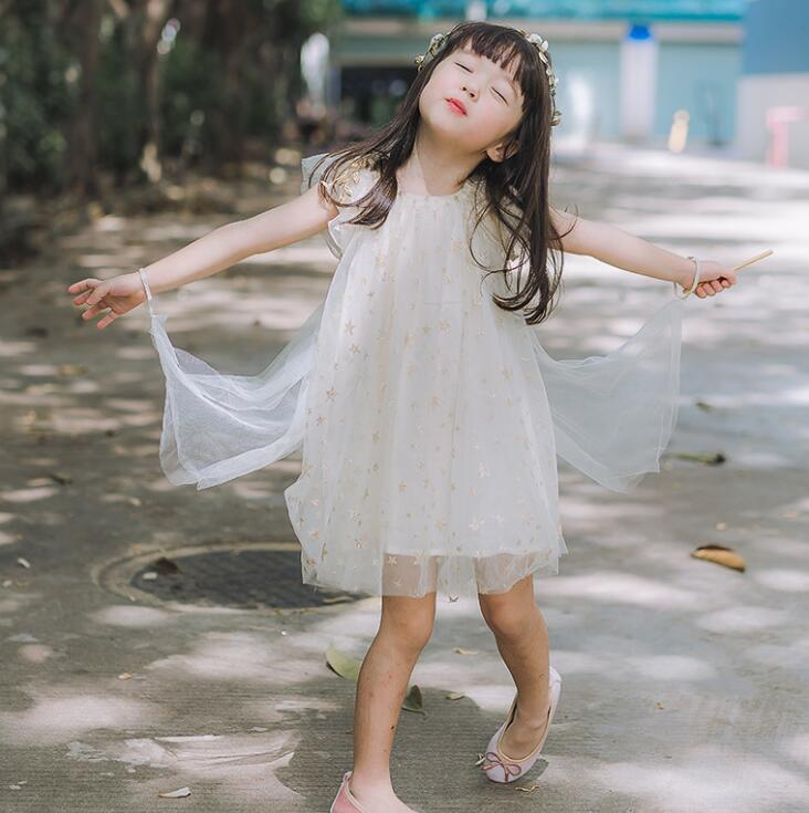 2018 Baby Kids Summer Star Mesh Wings Dresses Princess Girls Cute Candy Dress 4 pcs lot