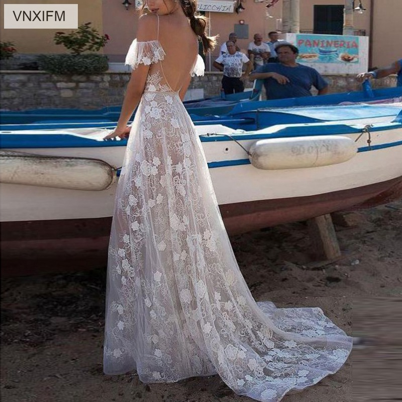 Image 2 - VNXIFM 2019 Sheath Wedding Dress Lace V Neck Bohemian Bridal Gowns A Line Backless Sexy Summer Beach Wedding Dresses-in Wedding Dresses from Weddings & Events