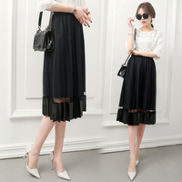 summer elegant lace Skirt women slim High waist patchwork velvet Skirts Double layer yarn transparent pleated skirt BS8802
