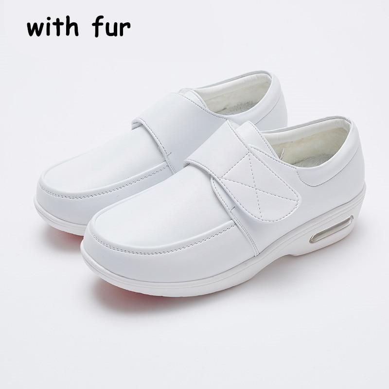 Cuero Mujer Aire Con Piel Mujeres De Blanco 2018 Plataforma Enfermera Otoño Invierno Cojín Deporte Mocasines Zapatos La Las Zapatillas 165awxq
