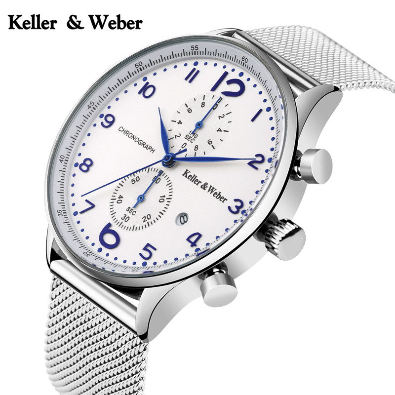 KW Keller & Weber Fashion Date 3ATM Waterproof Wrist Watch Quartz Chronograph Stylish Men Black/Silver Stainless Steel Mesh luise keller luise keller ожерелье 133319