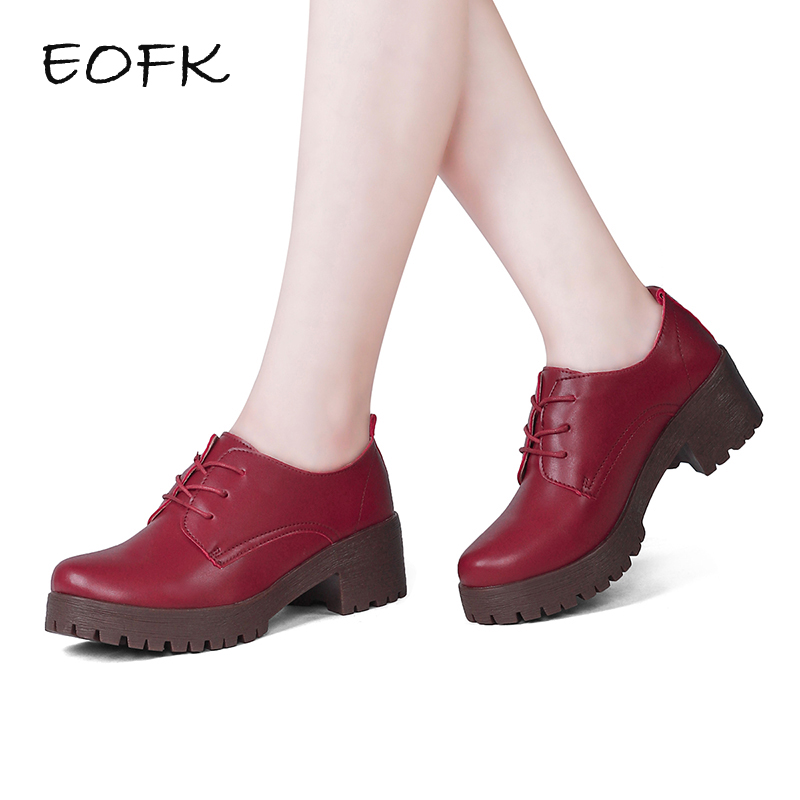 EOFK 2017 New Women Handmade Classics Square Heel Shoes Genuine Leather COMFORTABLE Heels Work ...