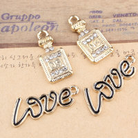 Wholesale 50PCS Gold Tone Alloy Rhinestone Fashion Perfume Necklace Pendant Charms Enamel Love Letter jewelry Oil Drop Charms