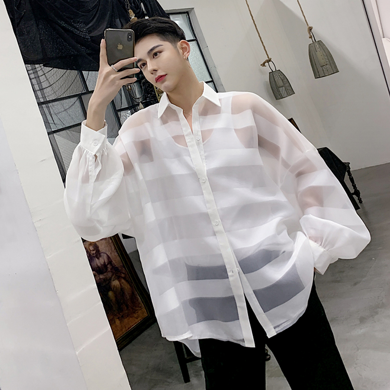 2019One S!!!Spring And Autumn Lantern Sleeve Puff Sleeve Loose Men's Perspective Long Sleeve Shirt.