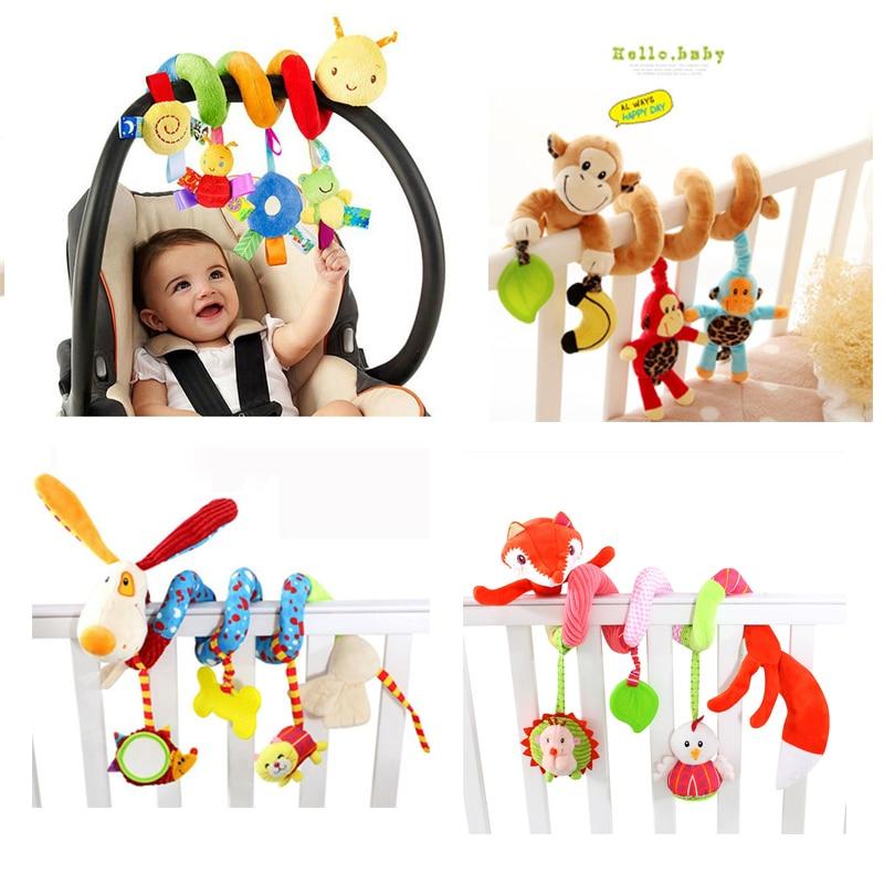 Bebé suave Cama Cuna Cochecito de Juguete Juguetes Para Los Recién Nacidos Del Bebé Espiral Asiento de Coche Colgando Sonajero Juguete Educativo Para El Regalo De Navidad