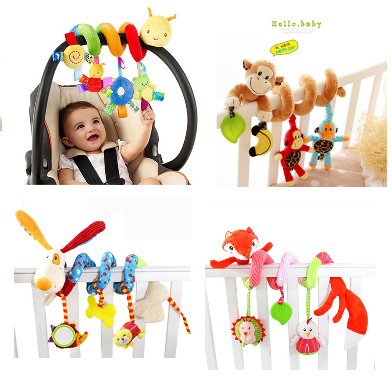 Soft Infant Crib Bed Stroller Toy Spiral Baby Toys For Newborns Car Seat Hanging Educational Rattle Toy For Christmas Gift
