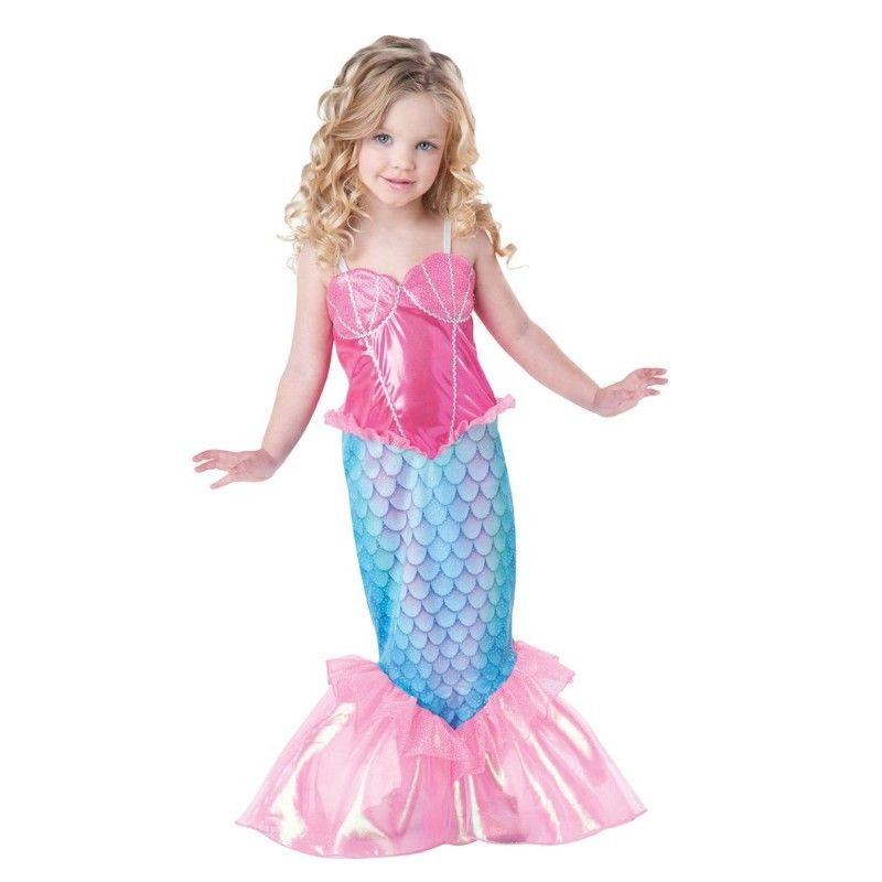 Baby Girls Clothes The Little Mermaid Ariel Kids Girls Dresses Princess Cosplay Halloween Costume hot sell fashin wigs mermaid wig adult princess ariel red wavy cosplay costume big