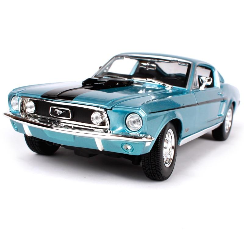 Maisto 1:18 1968 ford mustang gt cobra jet bleu de voiture moulé sous pression 260*100*75mm de luxe classique de voiture modèle automobile pour collection 31167