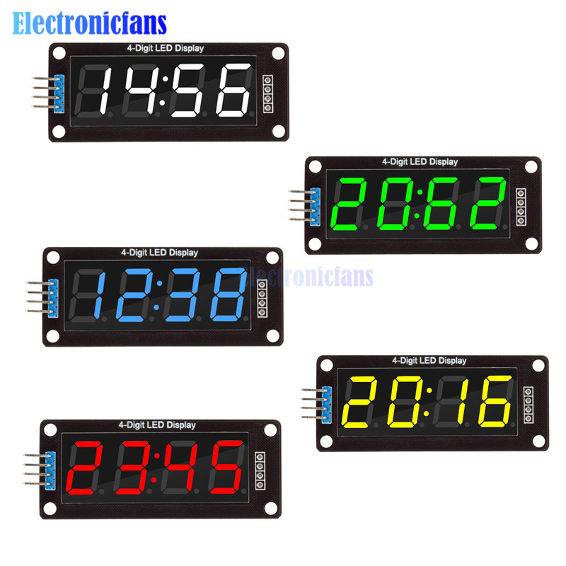 0.56 inch <font><b>4</b></font>-Digit 7 Segments Digital <font><b>Tube</b></font> Clock Module Double Dots Blue Yellow White Green Red LED Display TM1637 For Arduino image
